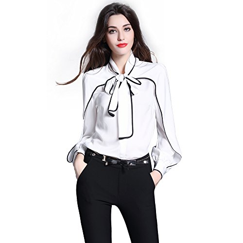 908e170fa266 DIFANER Women Blouses Long Sleeve Stand Collar Bow Tie Button-Down Shirts  White Color Silk Tops
